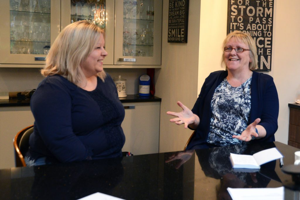 Nadine Honeybone left is interviewed by Dr Bridget Kirsop (1)