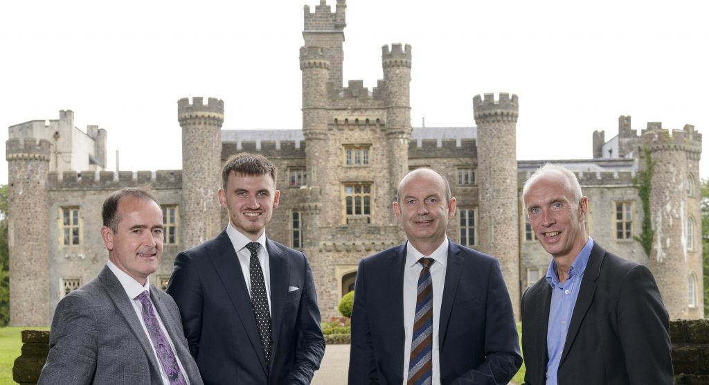 (l-r) Stephen Leeke, Rhys Mallows, Andy Mallows and Mike Fowler outside Hensol Castle